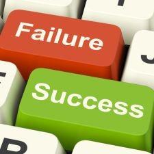 Success And Failure Computer Keys Shows Succeeding Or Failing Online